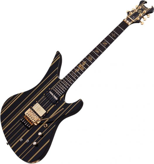 Schecter Signature Synsyter Custom-S Electric Guitar Gloss Black w/ Gold Stripes SCHECTER1742