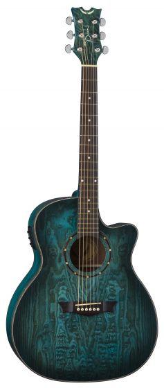 Dean Exotica Quilt Ash Acoustic Electric Guitar Trans Blue Satin EQA TBLS EQA TBLS
