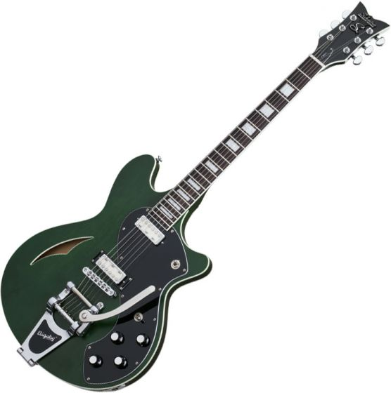 Schecter T S/H-1B Semi-Hollow Electric Guitar in Emerald Green Pearl Finish SCHECTER291