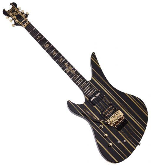 Schecter Synsyter Custom-S Left Hand Guitar Gloss Black Gold Stripes sku number SCHECTER1745