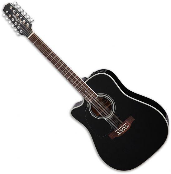 Takamine EF381SC Left Hand 12 String Acoustic Guitar in Black sku number TAKEF381SCLH