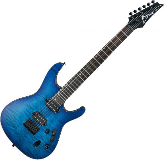 Ibanez S Standard S621QM Electric Guitar Sapphire Blue Flat S621QMSBF
