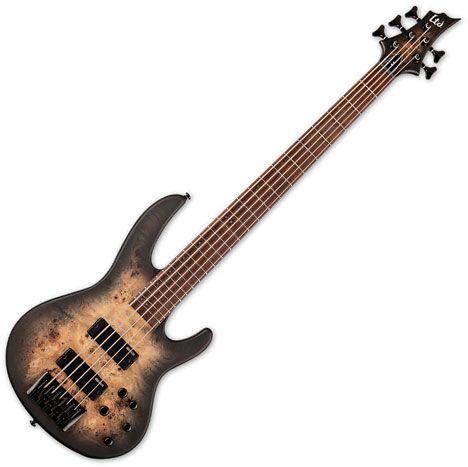 ESP LTD D-5 5 String Electric Bass Black Natural Burst Satin LD5BPBLKNBS