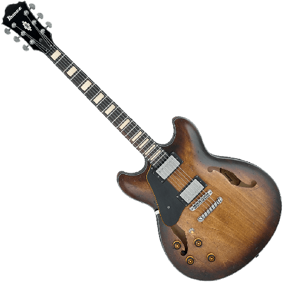 Ibanez Artcore Vintage ASV10AL Semi-Hollow Left-Handed Electric Guitar in Tobacco Burst Low Gloss ASV10ALTCL