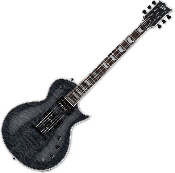 ESP LTD EC-1000 Piezo Quilted Maple Electric Guitar See Thru Black LEC1000PIEZOQMSTBLK