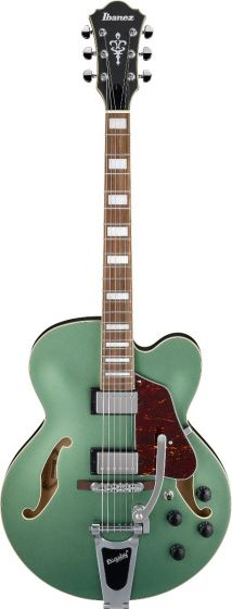 Ibanez AFS75T MGF AFS Artcore 6 String Metallic Green Flat Semi Hollow Body Electric Guitar sku number AFS75TMGF