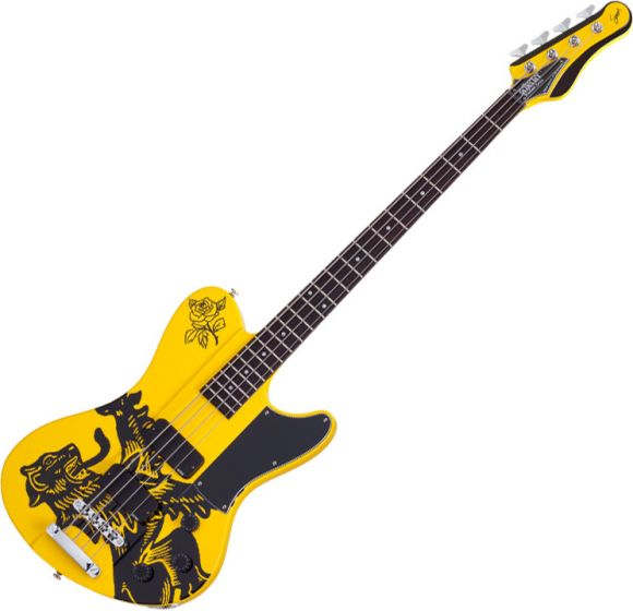 Schecter Simon Gallup Signature Ultra Spitfire Electric Bass Gloss Yellow SCHECTER2264