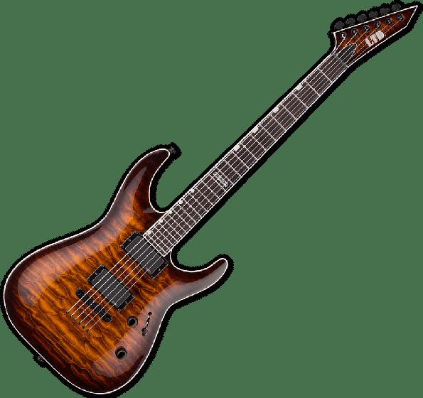 ESP LTD MH-401NT QM Electric Guitar in Dark Brown Sunburst LMH401NTQMDBSB