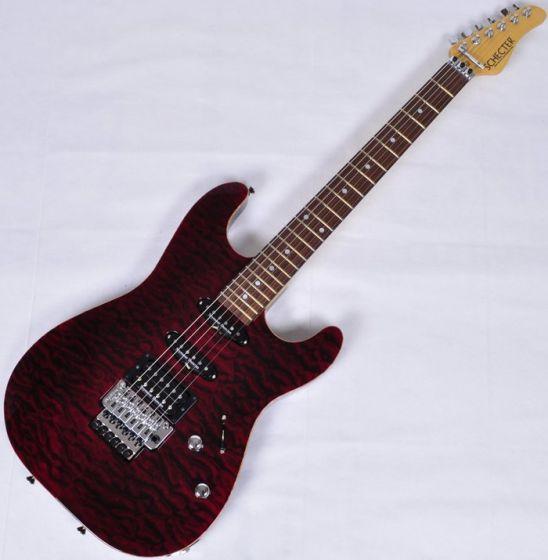 Schecter Contoured Exotic Top USA Custom Shop Electric Guitar Black Cherry SCHECTERCETQMBCH