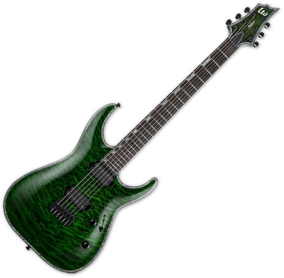 ESP LTD H-1001 Electric Guitar See Thru Green B Stock sku number LH1001QMSTG.B