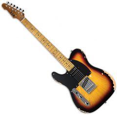 ESP LTD TE-254 Left-Handed Electric Guitar Distressed 3-Tone Burst LTE254D3TBLH