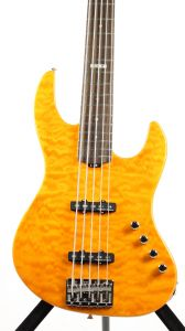 ESP E-II J-5 QM Quilted Maple Amber Bass Guitar 6SEIIJ5QMAMB
