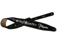 Takamine Grassflower Black Suede Guitar Strap MTAKTKSS3