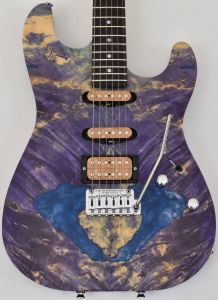 Schecter CET Custom USA Masterwork Guitar with Buckeye Burl Stabilized Top MW CET PURPLE STABILIZED