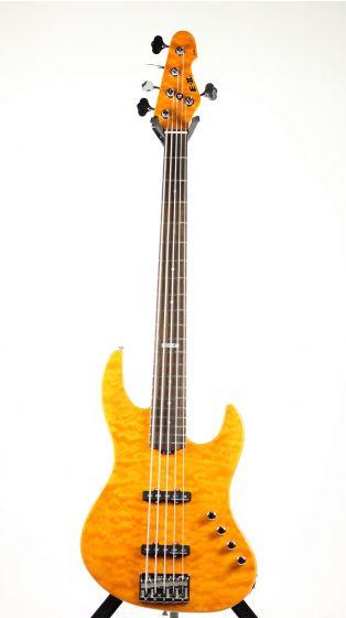 ESP E-II J-5 QM Quilted Maple Amber Bass Guitar 6SEIIJ5QMAMB