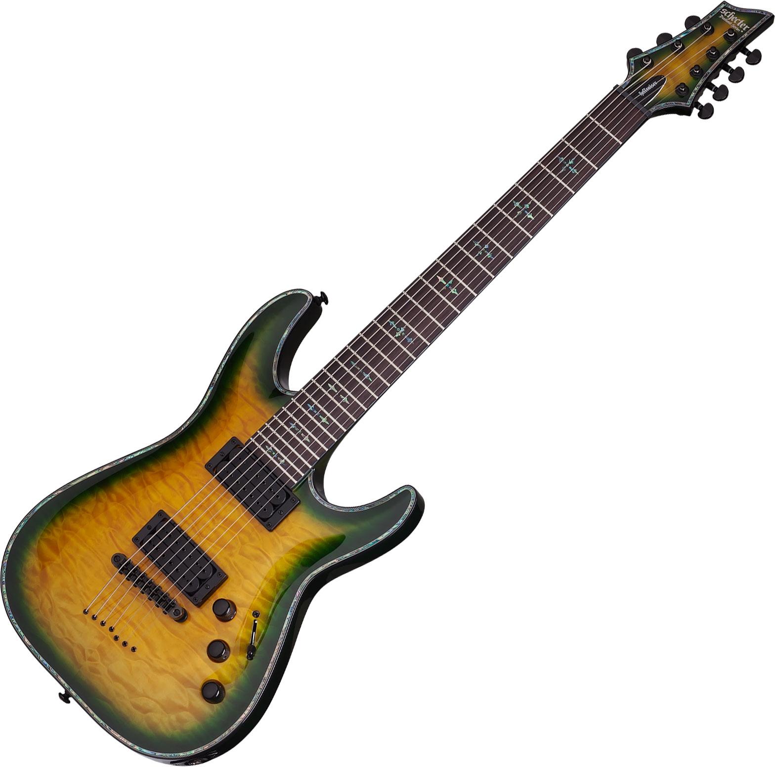 schecter hellraiser c 7 passive electric guitar in dragon burst finish 815447021583 ebay. Black Bedroom Furniture Sets. Home Design Ideas