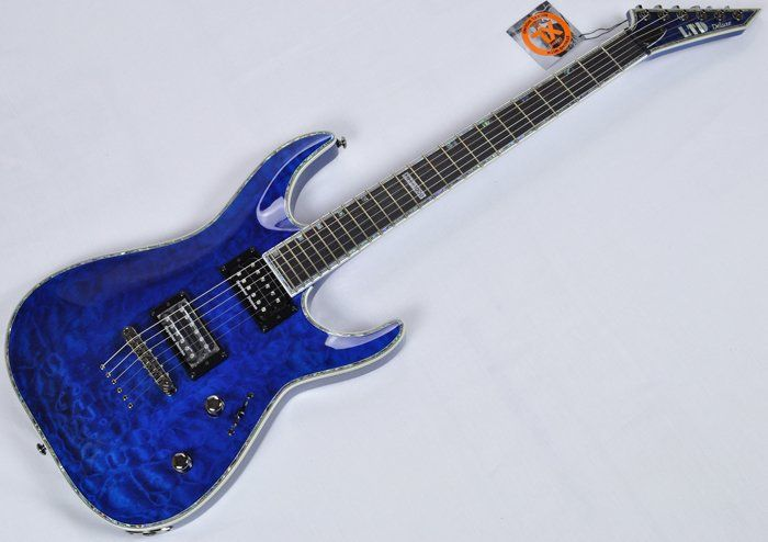 ESP LTD Deluxe MH-1000NT Electric Guitar in See Thru Blue B-Stock