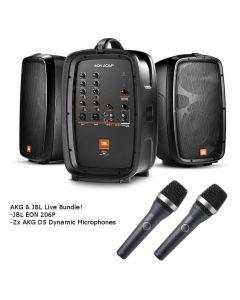 JBL EON206P Portable PA and Mixer / AKG D5 Dynamic Microphone Live Sound Bundle EON206P-D5