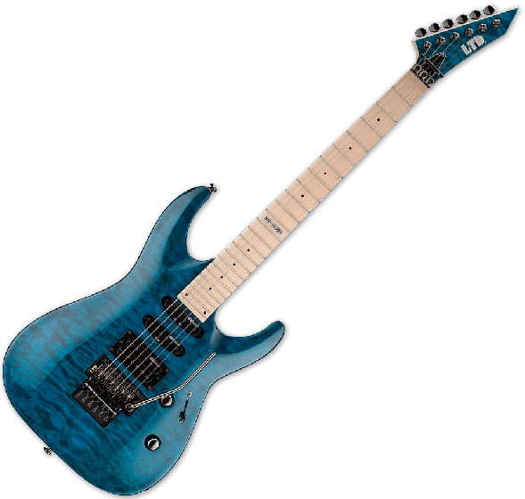 ESP LTD MH-103QM Guitar in See-Through Blue