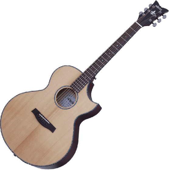 Schecter Orleans Stage Acoustic Guitar in Natural Satin/Vampire Red Satin Back Finish