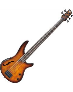 Ibanez SR Bass Workshop SRH505 5 String Semi-Hollow Electric Bass Dragon Eye Burst Flat SRH505DEF