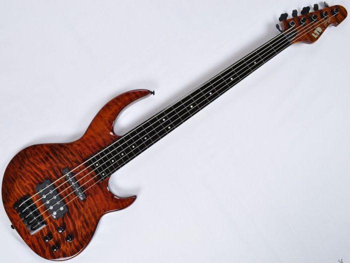 ESP LTD BB-1005FL QM Fretless Bunny Brunel Electric Bass in Burnt