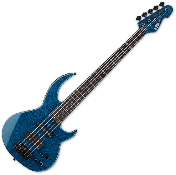 ESP LTD BB-1005 QM Bunny Brunel Electric Bass in Black Aqua