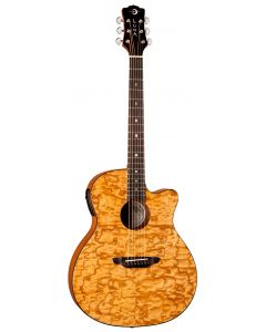 Luna Gypsy Quilt Ash Acoustic Electric Guitar Gloss Natural GYP E QA GN GYP E QA GN