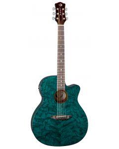 Luna Gypsy Quilt Ash Acoustic Electric Guitar Teal GYP E QA TEAL GYP E QA TEAL