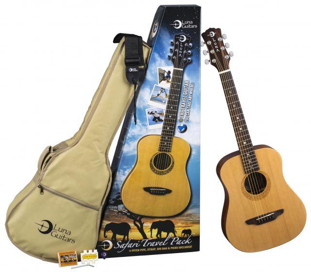 Luna Safari Muse Travel Guitar Package w/Acc SAF PK
