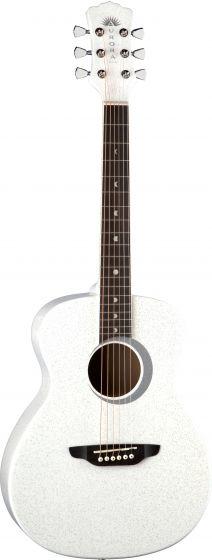 Luna Aurora Borealis 3/4 Guitar White AR BOR WHT