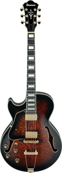 Ibanez AG Artcore Expressionist Left Handed Dark Brown Sunburst AG95QAL DBS Hollow Body Electric Guitar