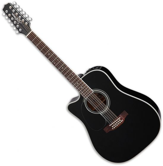 Takamine EF381SC Left Hand 12 String Acoustic Guitar in Black